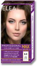 Permanent Hair Colour Cream ELEA Professional Colour & Care MAX SIZE 256 ml № 6.0 Dark Blond