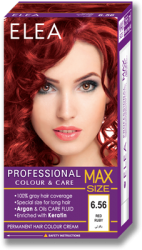 Permanent Hair Colour Cream ELEA Professional Colour & Care MAX SIZE 256 ml № 6.56 Red Ruby